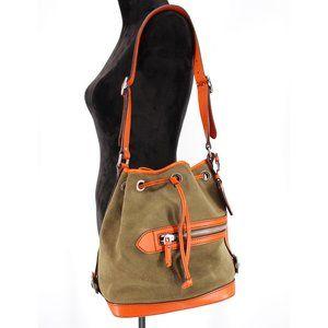 Prada Suede & Leather Hobo Cinch Bucket Bag